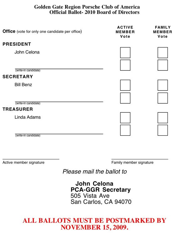 Ballot for Voting slips template